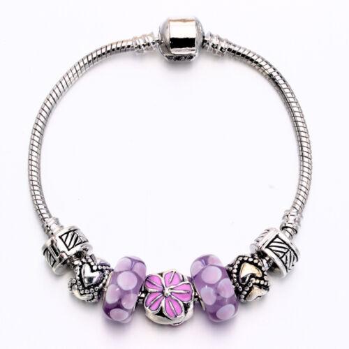 NEW MC Silver Purple Enamel Flower Murano Beads Heart European Charm Bracelet