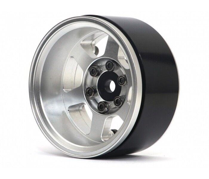 Boom Racing TE37XD KRAIT beadlock Ruedas de Aluminio de 1.9 plato hondo plateado (4)
