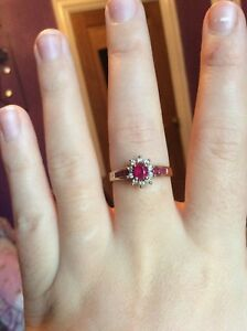REDUCED-9k-gold-natural-ruby-diamond-ring-size-R-S
