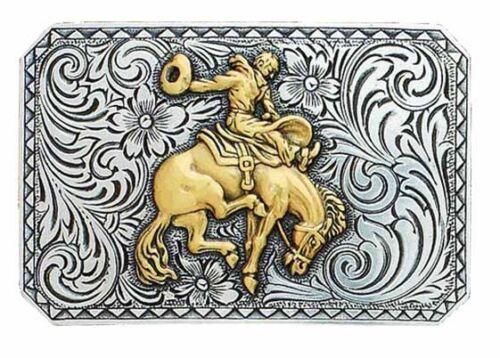 RETRO-STYLE Square Antiqued Silver ~WESTERN BELT BUCKLE~ Saddle Bronc Buck Horse