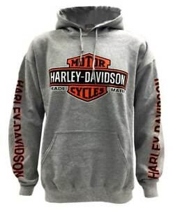 Harley-Davidson-Men-039-s-Bar-amp-Shield-Logo-Pullover-Hooded-Sweatshirt-Gray