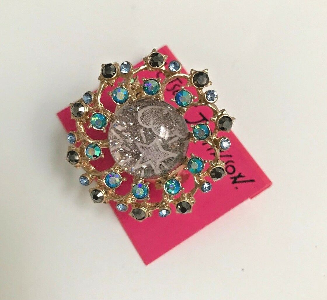 NWT Rare Betsey Johnson Star stargazer Stretch purple bluee gold Ring