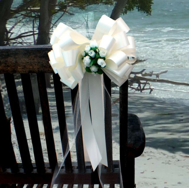 6 Ivory Wedding 8 Pew Pull Bows Tulle Rosebuds Church Chair Aisle Decorations