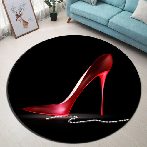 Red High Heels Shoe Beads Yoga Round Floor Mat Bedroom Living Room Area Rugs HOT