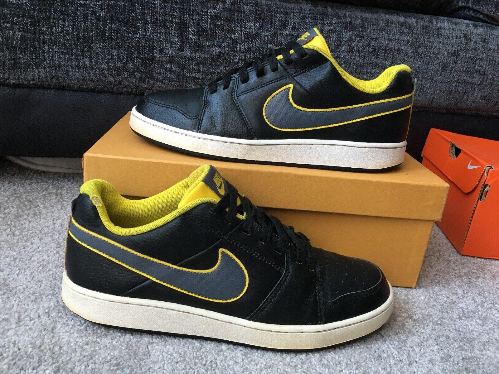 5d0b5e5f61fa56 Nike Backboard II black   yellow leather low top top top trainers ...