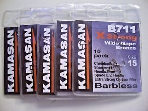 all patterns and sizes available KAMASAN B611 /& B711 X-STRONG SPADE END HOOKS