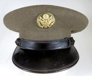 5029616599a U.S. ARMY ENLISTED MENS VISOR HAT CIRCA 1930 s ORIGINAL SIZE 6-7 8 ...