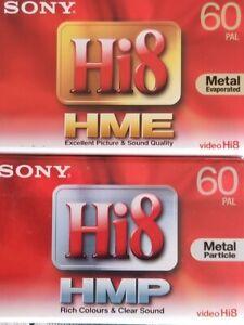 2 CASSETTES K7 SONY 60 Minutes  (1 k7 HMP + 1 k7 HME) CAMESCOPE Video 8 neuves