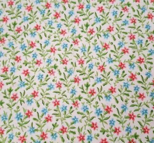 Bleecker Street BTY Quilting Treasures Floral Calico Posey White Blue Pink
