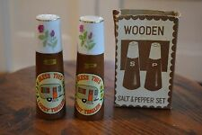 """Vintage """"Bless This Lousy Trailer"""" Camper Salt and Pepper Shakers Wood Ceramic"""