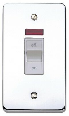 Flat Plate 45A Cooker Switch /& Socket /& Neon in Polished Brass NEW UK SELLER