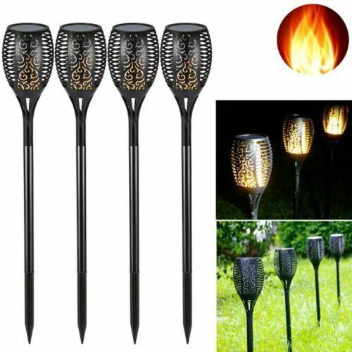 4X Flame Solar Torch Lights Dancing Flickering 12LED Waterproof Garden Path Lamp