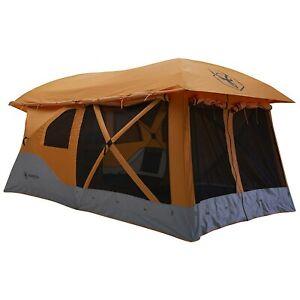 Gazelle T4 Plus 8 Person Portable Pop Up Camping Hub Tent w/Screen Room, Orange