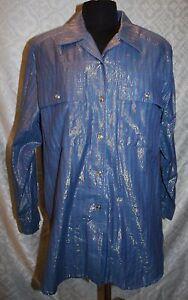 PALMER-AUSTRALIA-M-Vintage-Boton-Frontal-Camisa-Azul-Metalico-Mujer-Blusa-top