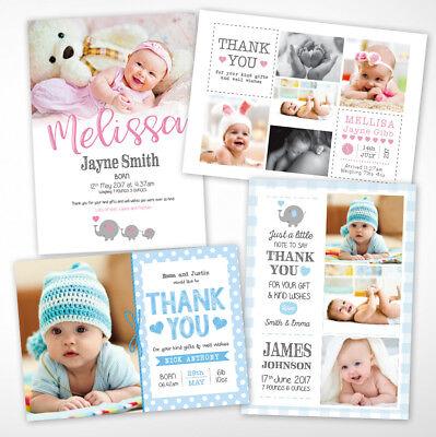 Nuovo Bambino Ringraziamenti, Personalizzato, Nascita Annuncio, Ragazza O Ragazzo-