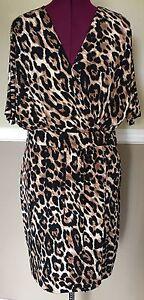 Chaus-Leopard-Animal-Print-Wrap-Dress-Size-8
