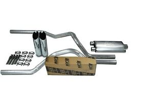96-99 Chevy Silverado Truck 2.5 Dual Exhaust Tail Pipe Kit Chrome Tips