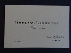 Ancienne Carte De Visite BOULAY LASSERRE Chaussure CANNES