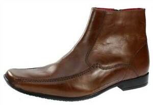 Red Tape Mens Tan Brown Leather Ankle Zip Up Boots Square Toe ...