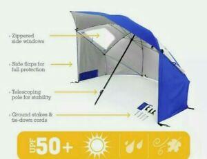 Super-Brella-Beach-Umbrella-8-Ft-Wide-Sun-Protection-Tent-Shelter-Portable-Blue