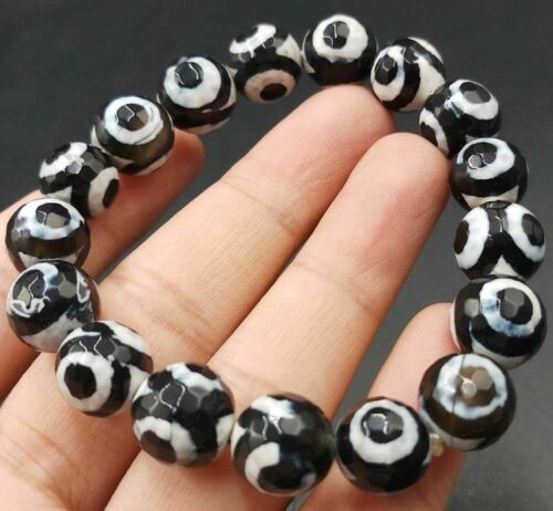"""10 mm NATURAL BLACK Old Agate Onyx Faceted Beads Bracelet 7.5/"""" AAA Belle"""
