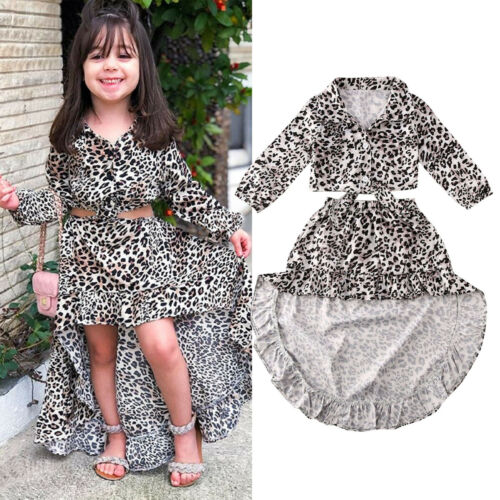 US Toddler Baby Girl Long Sleeve Crop Top Irregular Dress Leopard Outfit Clothes