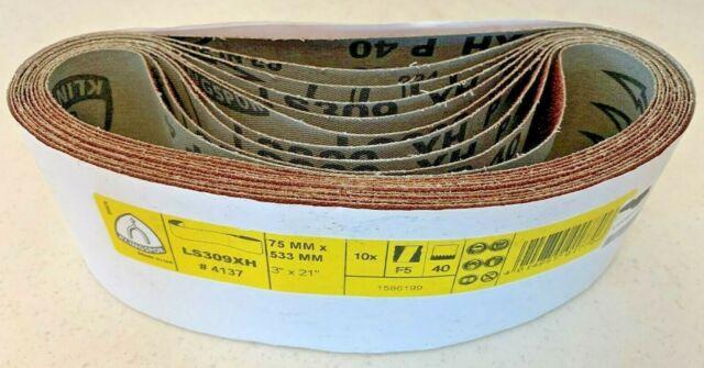 10 Klingspor Schleifband LS 309 XH # 4137, Länge 533 x 75 mm, Form F5, P40
