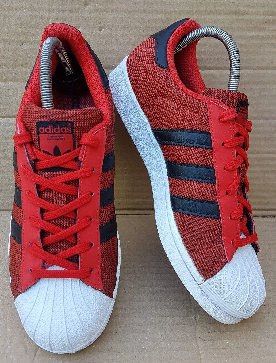 ADIDAS SUPERSTAR SHELL TOE TRAINERS TOMATO 6 RED WEAVE IN SIZE 6 TOMATO UK EXCELLENT d835db