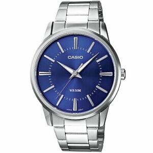 Casio-Uhr-MTP-1303PD-2A-Herren-Edelstahlarmband-Silber-Blau-Watch-Men-NEU-amp-OVP