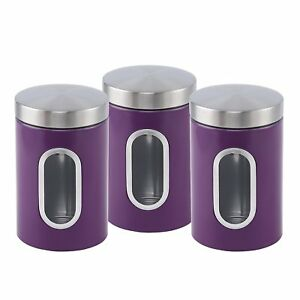 Stainless-steel-Canister-set-3-pcs-with-Window-in-6-colours-Purple