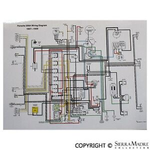 full color wiring diagram, porsche late 1957 1959 356a(t2) ebay