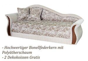 design sofa beige schlafsofa bettkasten federkern holz couch schlafcouch b ware ebay. Black Bedroom Furniture Sets. Home Design Ideas