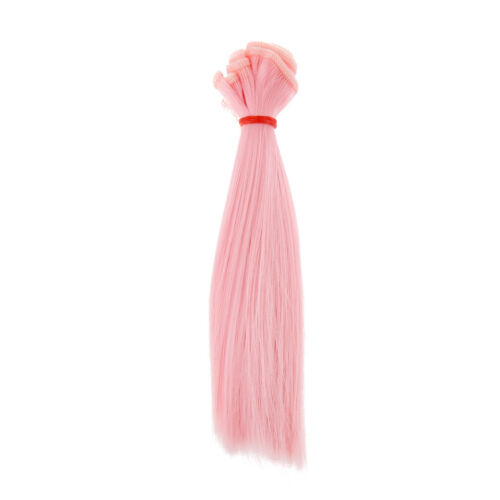 2pcs DIY Straight Hair Wig For 1//3 1//4 1//6 Doll Girl Toy Gifts Pink /& White