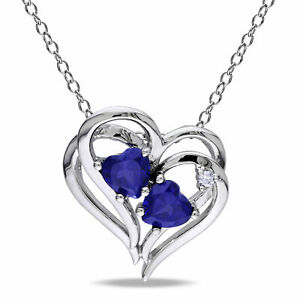 Amour Sterling Silver Diamond and Created Blue Sapphire Heart Pendant