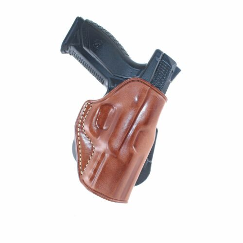 OWB LEATHER PADDLE HOLSTER FOR RUGER AMERICAN 9MM COMPACT 3.55''BBL R//H DRAW