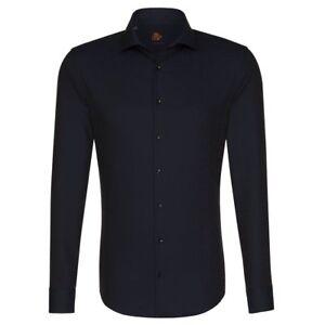 Herrenmode StoßFest Und Antimagnetisch Klassische Hemden Seidensticker Langarm Hemd Uno Super Slim Kent Dunkelblau Struktur 675900.17 Wasserdicht