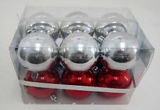Weihnachtsbaumkugeln 50mm aus Kunststoff  in silber+blau+rot - 12 Stück im SET