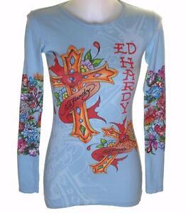 New-Women-039-s-Ed-Hardy-Long-Sleeve-Specialty-T-Shirt-Stretch-Love-Cross-S-XS