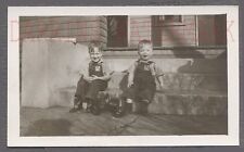 Vintage Photo Cute Farm Boys in Overalls w/ Trator Pull Toy 743237