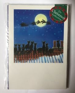 039-Rooftops-039-Cats-watching-Santa-Reindeer-Sleigh-12-small-Christmas-cards-SALE