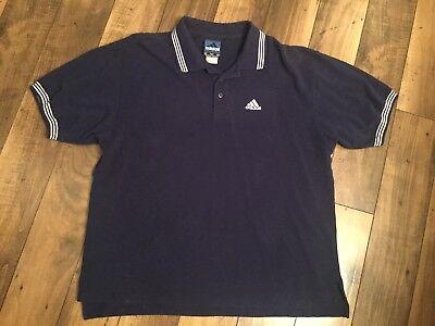 Activewear Bright Men's Adidas Shortsleeve Athletic Shirt /size Xl/navy Blue .white Trim
