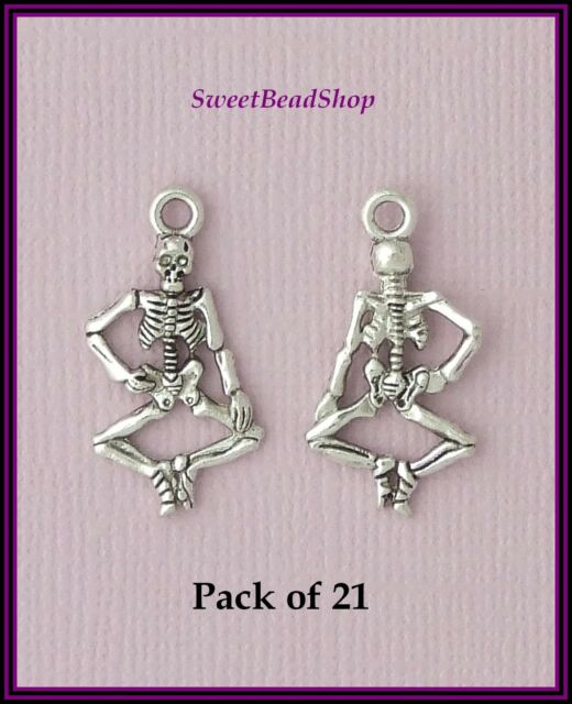 21 Antique Silver Colour 26 x 13mm Skeleton Bones Gothic Charms - Halloween