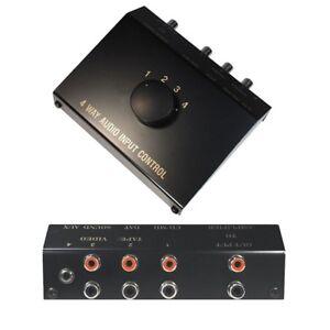 Audio-Chinch-Cinch-Klinke-Verteiler-Umschalter-Umschaltbox-Switch-4-IN-1-OUT