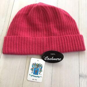 Image is loading Portolano-Ribbed-Cuffed-100-Cashmere-Beanie-Hat-Women- 6fb041c6e907