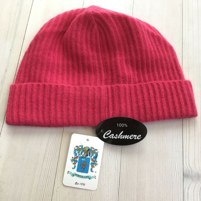 9a76c71913f Portolano Ribbed Cuffed 100% Cashmere Beanie Hat Women s NWT  85 Pink Knit