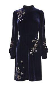 STUNNING-L-k-BENNETT-Midnight-Che-Velvet-Embroidered-Dress-Size-8-RRP-490