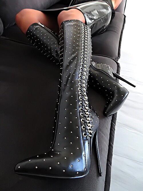 HOHE STIEFEL black black black DAMEN TOP SCHUHE B106 LUXURY BLACK BOOTS HIGH HEELS 37 e57145