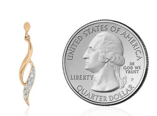 14K Or Rose Diamant Dangle Earrings .04 CT 7//8 Pouces Goutte dangels