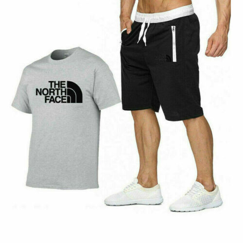 Summer Sportswear Men/'s T-Shirt Shorts Tracksuits Set Bottom Gym Fitness Plain