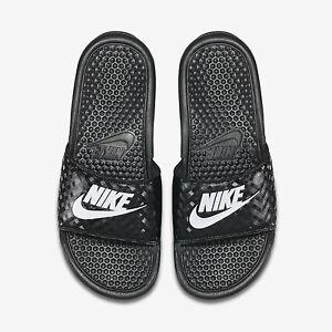 4fb2e40c56bd Wmns Nike Benassi JDI Slide Sandals Sz 5-12 Black White 343881-011 ...